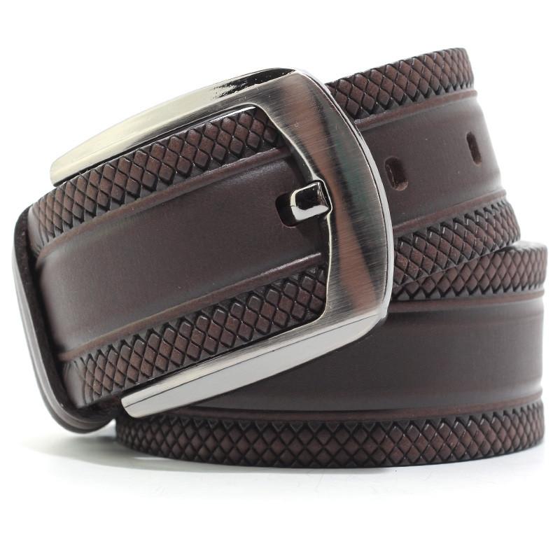 Ремень кожаный мужской коричневый Bond 53197 Турция
