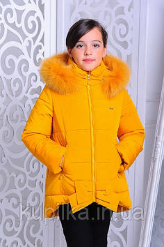 "Зимняя куртка для девочки ""Бант"" горчица (размер 40)"
