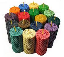 Свічки катані з кольорової вощини висота 8.5 см діаметр 4 см час горіння 3 години