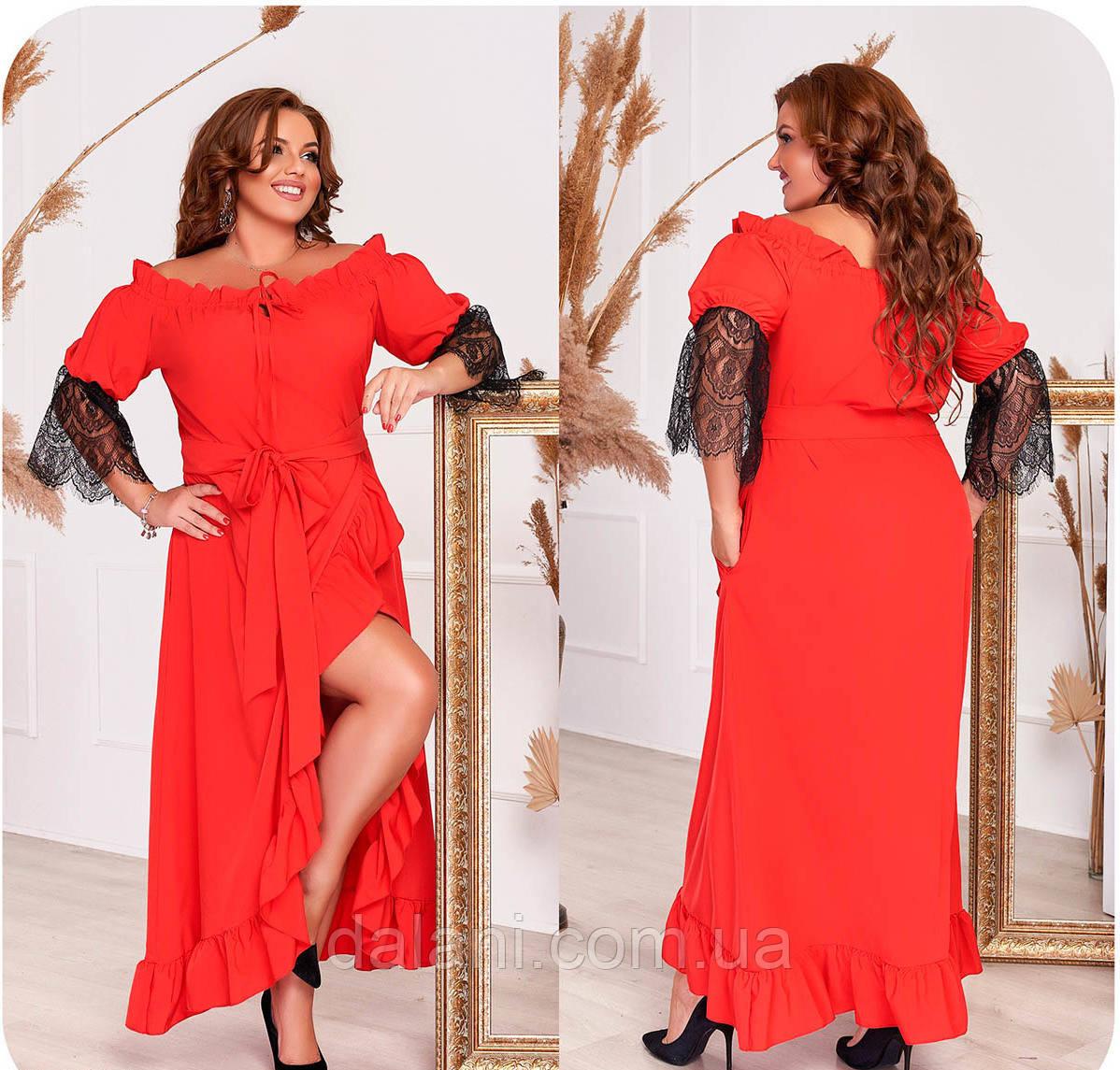 Вечернее красное платье макси с открытыми плечами батал