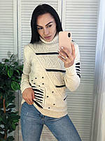 Модний светр жіночий вовняної з горлом, молоко. Виробництво Туреччина.NВ 7029, фото 1