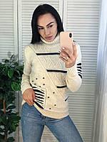 Модный свитер женский шерстяной с горлом, молоко. Производство Турция.NВ 7029, фото 1