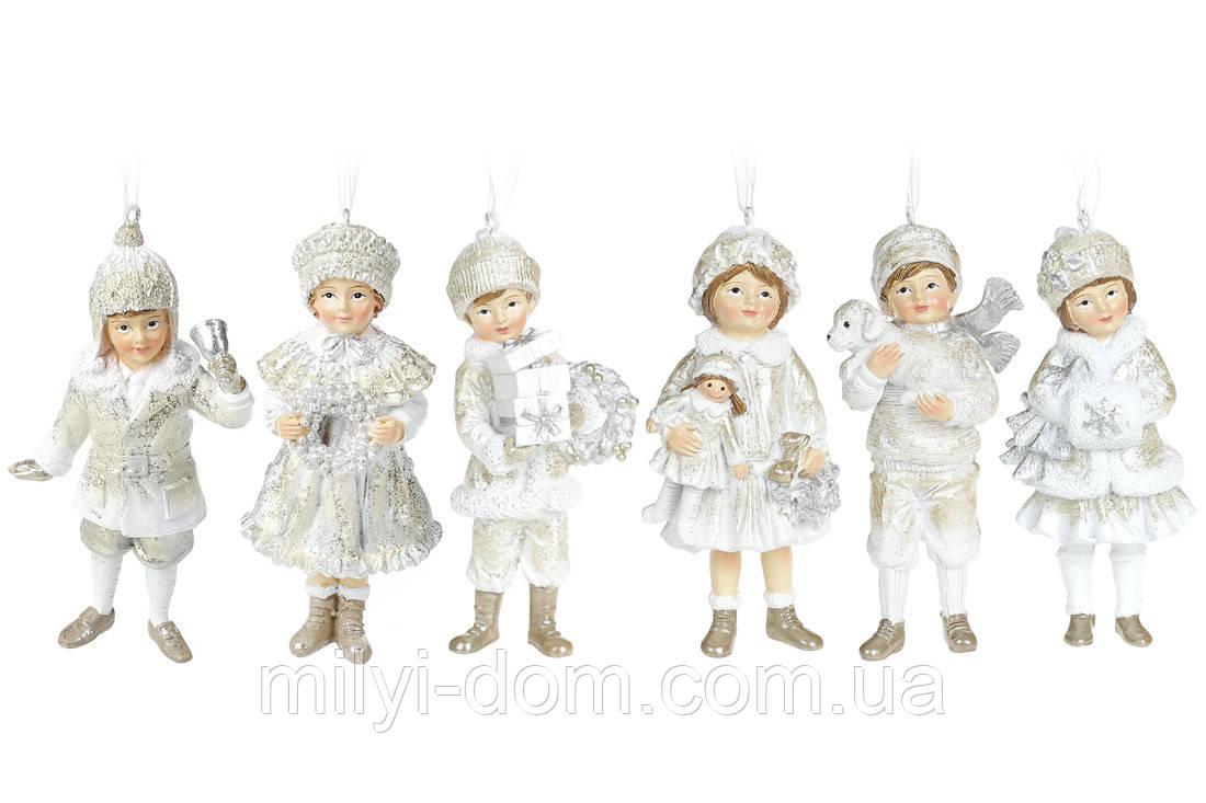 Декоративная подвесная фигурка Детки, 11.5см, 6 шт, шампань