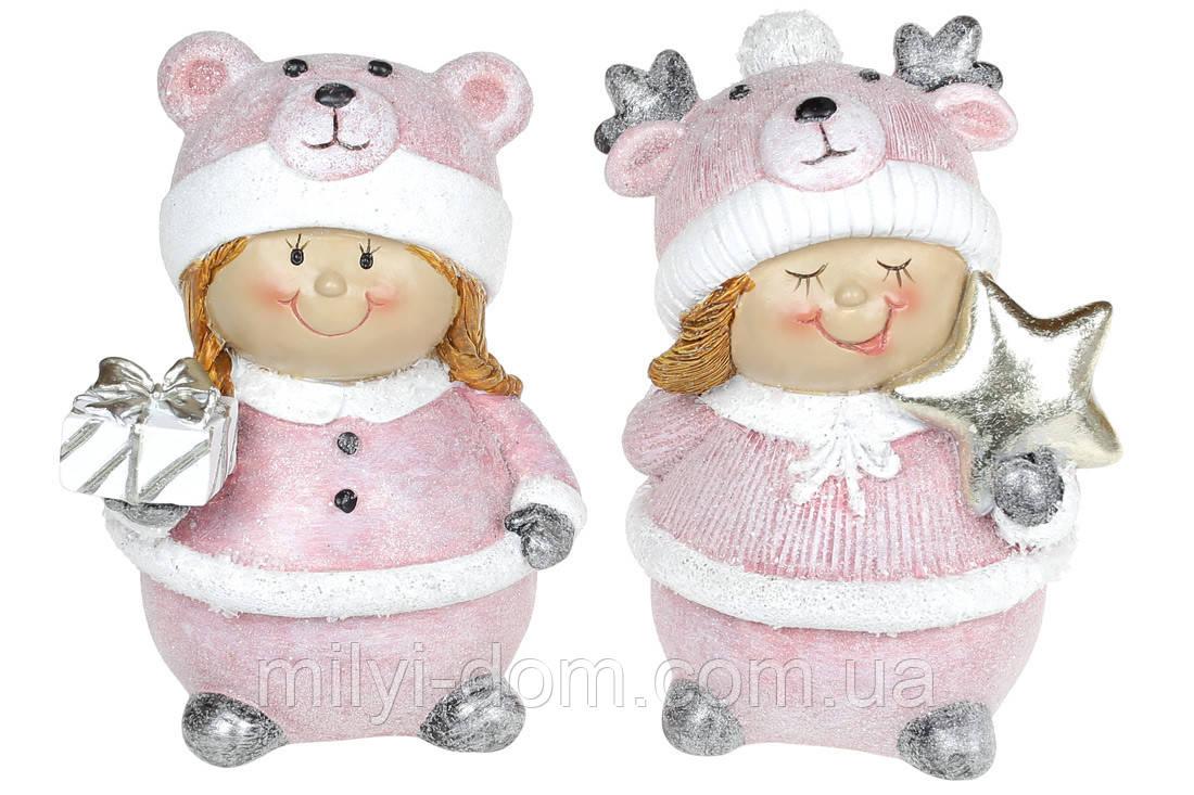 Декоративная фигурка Дети в смешных шапках, 13см, 2 шт, розовый крем