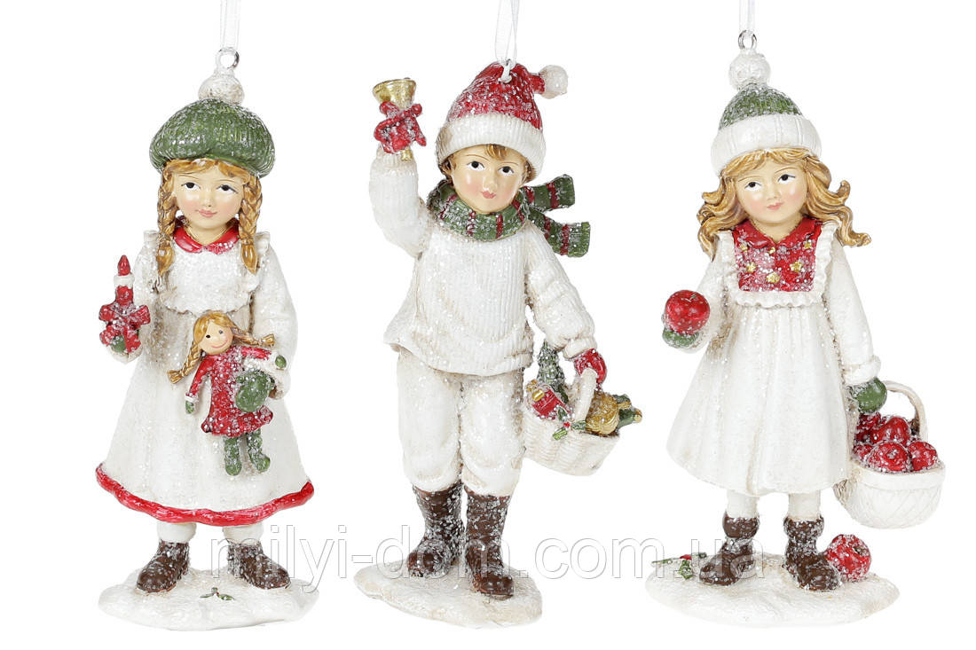 Декоративная подвесная фигурка Детки, 13см, 6 шт, цвет - белый с красным