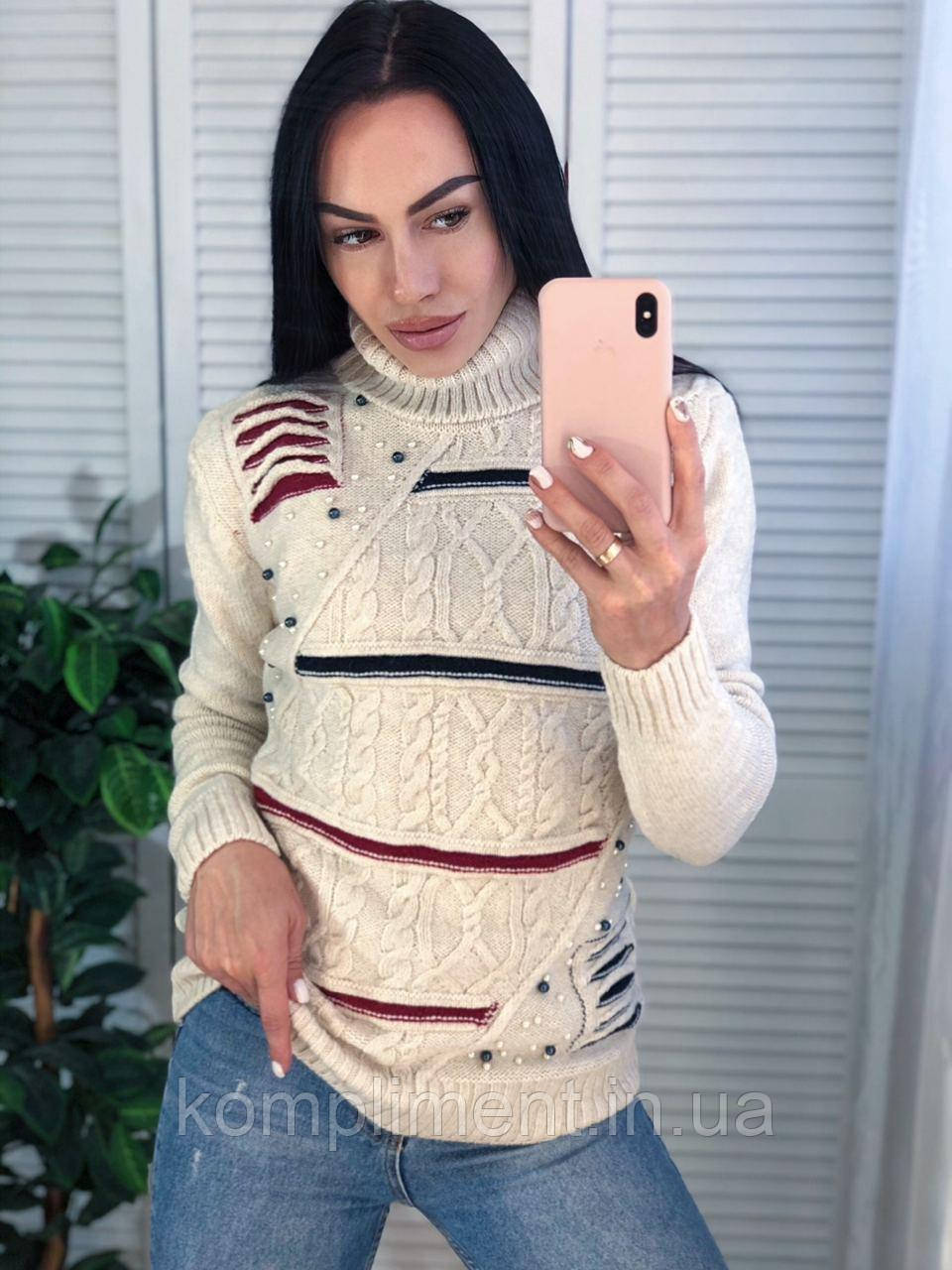 В'язаний светр жіночий вовняної з горлом,синій.Виробництво Туреччина.NВ 2404/2