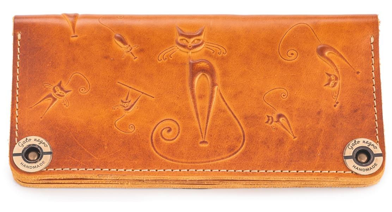 b63151da3793 Кожаный кошелек ручной работы Gato Negro Catswill женский, рыжий (женские  кошельки из натуральной кожи