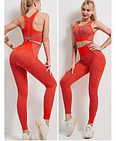 Жіночий фітнес костюм червоний (легінси+топ)