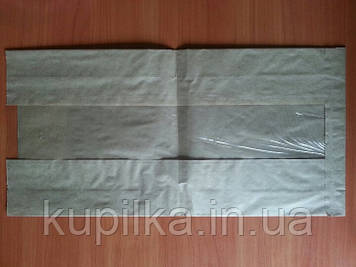Бумажный пакет с прозрачной вставкой 420х210х70/80 мм 59