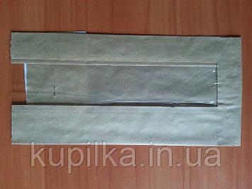 Бумажный пакет с прозрачной вставкой 210х100х50/40 мм 68