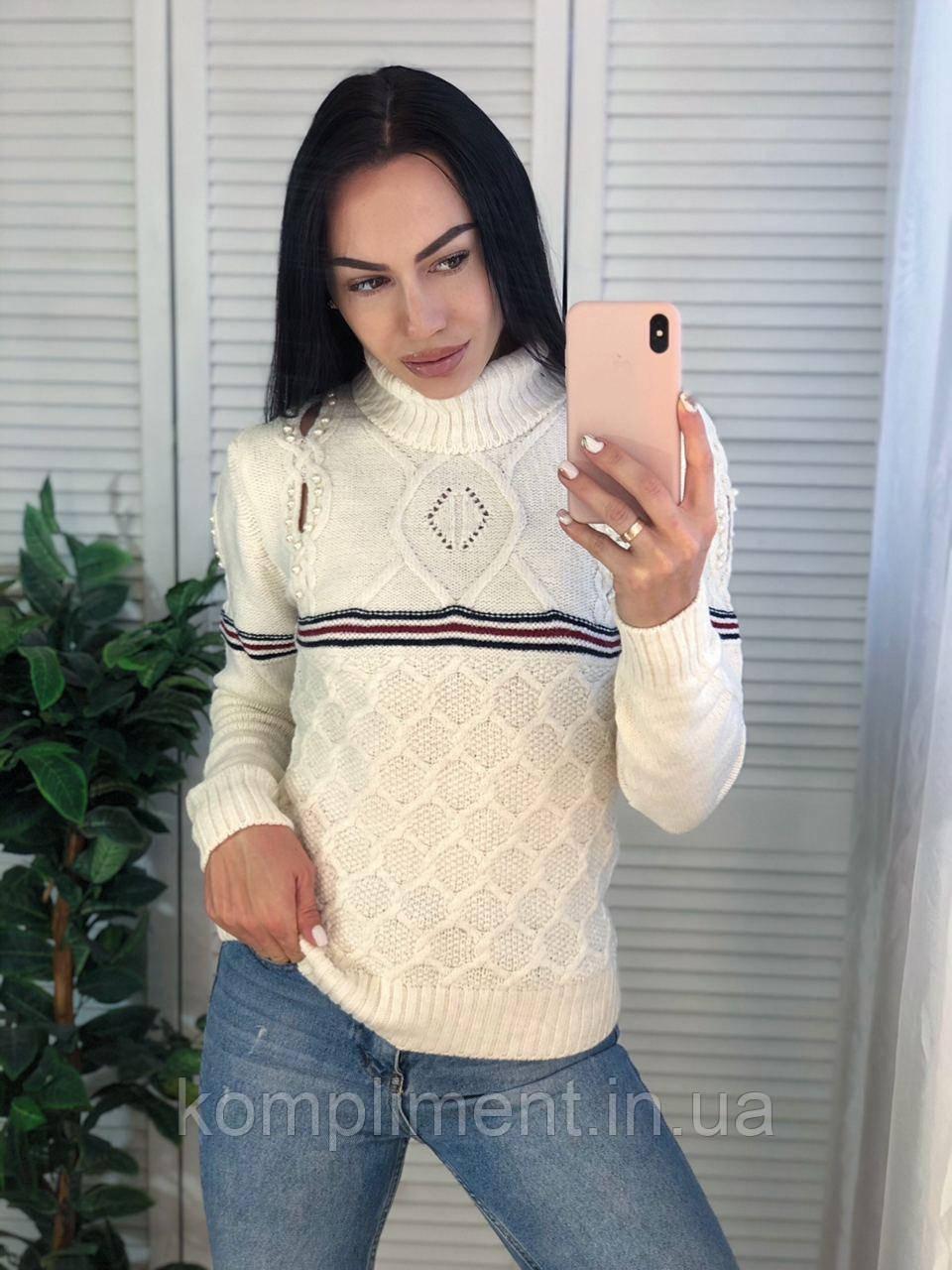 Жіночий в'язаний светр з смужками,білий. Виробництво Туреччина.