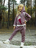 Костюм трикотажный для девочки (бордо меланж) 03-00610-0МК