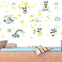 """Декоративные наклейки для детского сада, наклейка в детскую """"новорожденные панды"""" 57см*106см ( лист 30см*90см)"""