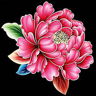 Алмазная вышивка мозаика Чарівний діамант Розовый пион КДИ-0024 25х25см 15цветов квадратные полная, фото 1