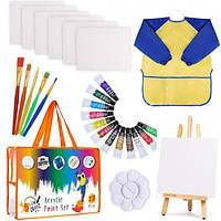 Детский Художественный Набор для Рисования и Творчества из 27 Принадлежностей: Кисти, Краски, Мольберт, Холсты