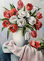 """Набор алмазной вышивки """"Красные и белые тюльпаны"""""""