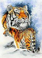 Алмазная вышивка мозаика Чарівний діамант Семья тигров КДИ-0989 40х55см 23цветов квадратные полная