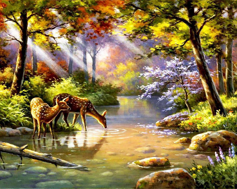 Алмазная вышивка мозаика Чарівний діамант Олени у реки КДИ-0605 40х50см  Худ.Sung Kim 28цветов квадратные