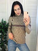 Жіночий в'язаний шерстяний светр з смужками,бежевий. Виробництво Туреччина.NВ 2007