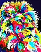 Алмазна вишивка, мозаїка Чарівний діамант Райдужний лев КДІ-0812 40х50см 20цветов квадратні повна