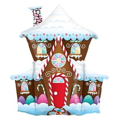 """Q 37"""" Decorated Gingerbread House Foil Balloon. Шар воздушный фольгированный новогодний Пряничный домик"""