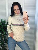 Жіночий в'язаний шерстяний светр з смужками,молоко. Виробництво Туреччина.NВ 2007, фото 1