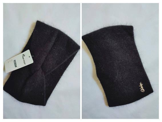 Повязка на голову из  ангоры FAN CAP 386 черный, фото 2