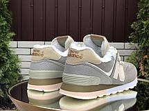 Зимние подростковые кроссовки New Balance 574,замшевые,серые с пудрой, фото 3