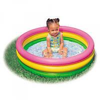 Бассейн детский надувной INTEX 58924 круглый не большой бассейн с надувным дном для ребнека