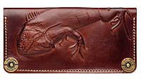 Кожаный кошелек ручной работы Gato Negro Iguana женский, коричневый (женские кошельки из натуральной кожи)