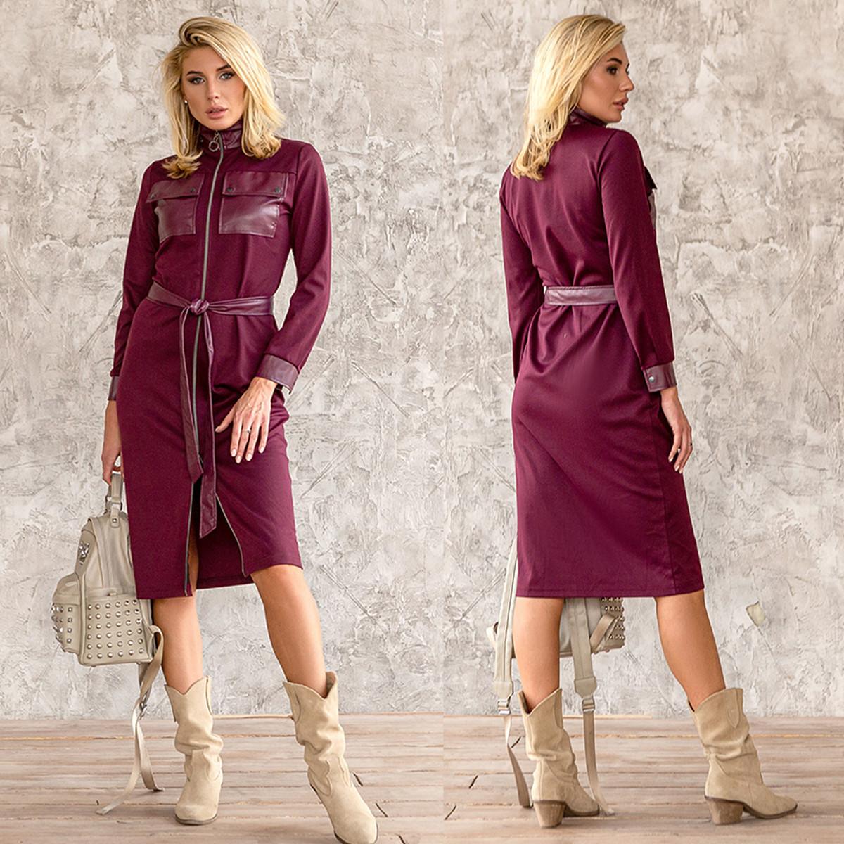 """Платье бордовое комбинированное повседневное демисезон """"Рейчел"""""""