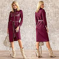 """Платье бордовое комбинированное повседневное демисезон """"Рейчел"""", фото 1"""