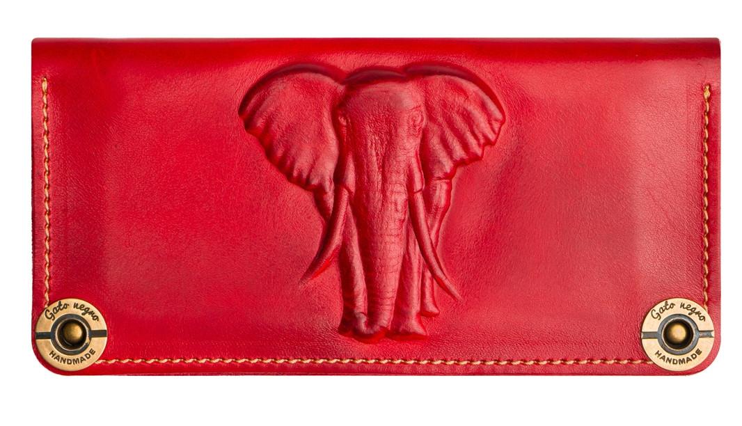 546721169b35 Кожаный кошелек ручной работы Gato Negro Elephant женский, красный (женские  кошельки из натуральной кожи