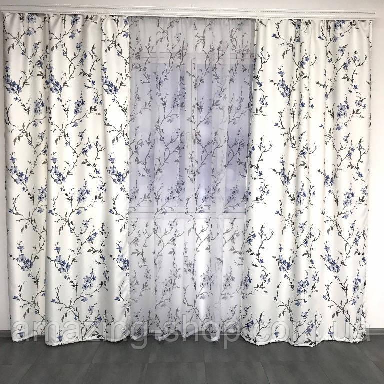 Готові атласні штори з тюлю | Штори 150x270 + тюль 400x270 | Якісні штори з тюлю | Штори і тюль в квіти |