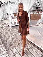 ТУНІКА - СОРОЧКА ПЛЯЖ високої якості ТКАНИНА ШИФОН -ФЛОК з кишенями на гудзиках(42-48), фото 1