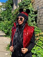 Жіночий Жилет +шапка, Склад:стьобаний синтепон 150%,стильний набір(універсал)