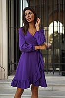 Женское платье, ткань:ткань: софт, классического кроя, на запах с пояском, однотонное(42-46), фото 1