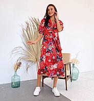 """Жіноче плаття, тканина-супер софт принт """"Квіти і листя"""",Завищена талія, потайна блискавка. (42-48), фото 1"""