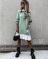"""Женское платье на флисе """"Oversize"""",Ткань - трехнить, с белыми вставками из натуральной ткани (42-46), фото 1"""