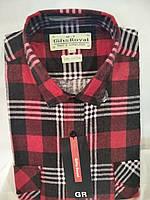 Мужская байковая рубашка теплая красная в клетку с длинным рукавом Royal