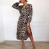 Женское платье на запах леопардовое ( 2 цвета - белое, коричневое), фото 3
