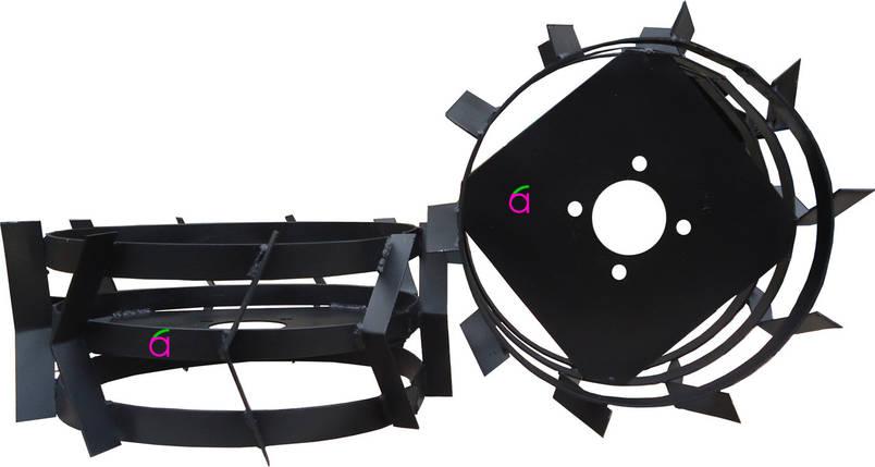 Грунтозацепы к мотоблоку (железные колёса) Ø 380 мм из профтрубы АМ, фото 2