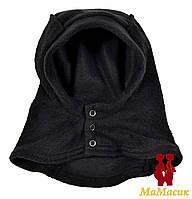 Шапка - шлемик флисовый, чёрный., фото 1