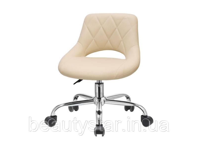 Стілець для майстра педикюру модель 355 педикюрний стілець для майстра зі спиною Бежевий
