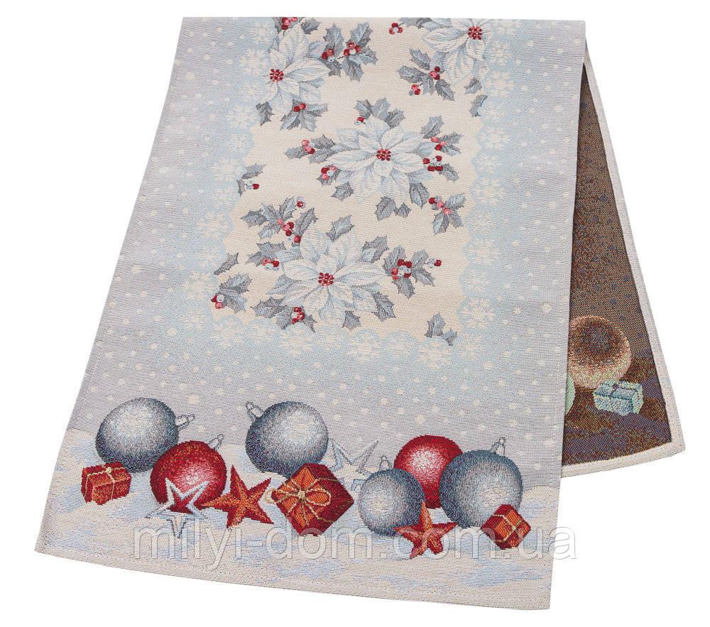 """Наперон\доріжка на стіл """"Квітчасте Різдво"""", 45х140 см"""