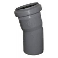 Отвод (колено) 50х30º ПП Инсталпласт с раструбом и уплотнительным кольцом для внутренней канализации серый