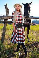 Женское платье стильное, Ткань французский трикотаж, в комплекте пояс, по спинке в талии резинка(42-52), фото 1