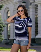 Женская футболка с карманом летняя в полоску рукава короткие, фото 3