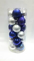 Ялинкові кулі 24 штуки в упаковці діаметром 8 см сині+срібло