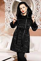 Женская шуба Фиона черный каракуль , норковая шуба